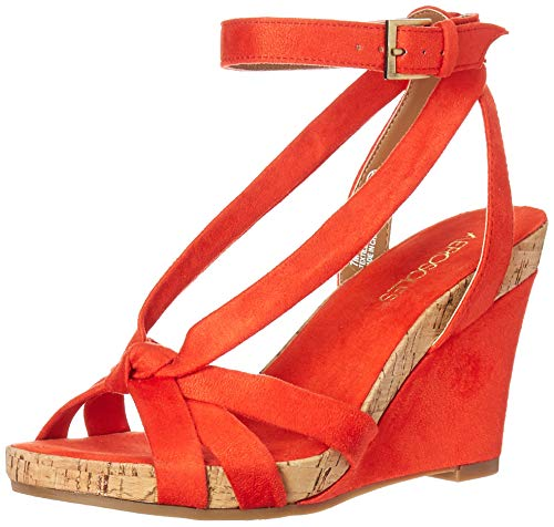 - Aerosoles - Women's Fashion Plush Wedge Sandal - Open Toe Strap Platform Heel Shoe with Memory Foam Footbed (7.5M - Orange Fabric)