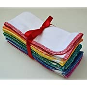 Paperless Towels, 1-Ply, Made from White Cotton Birdseye Fabric - 11x12 inches (28x30.5 cm) Set of 10 in Rainbow Assortment