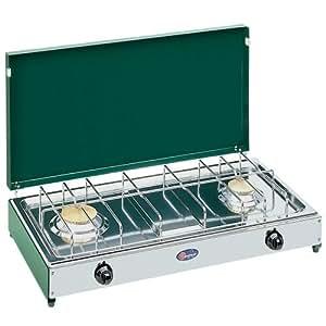 Camp 4 91761 - Cocina de gas portátil fabricada en acero inoxidable con dispositivo de seguridad de encendido (2 fogones, 50 millibares)