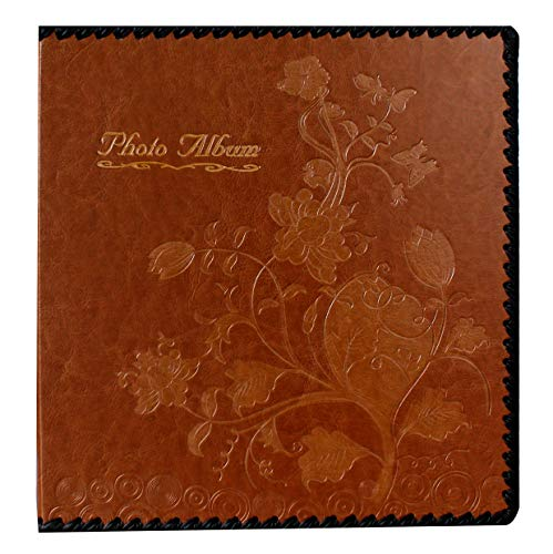 Beautyus Photo Album Book, Family Album, Leather Cover, Holds 3x5, 4x6, 5x7, 6x8, 8x10 Photos (Brown, M)