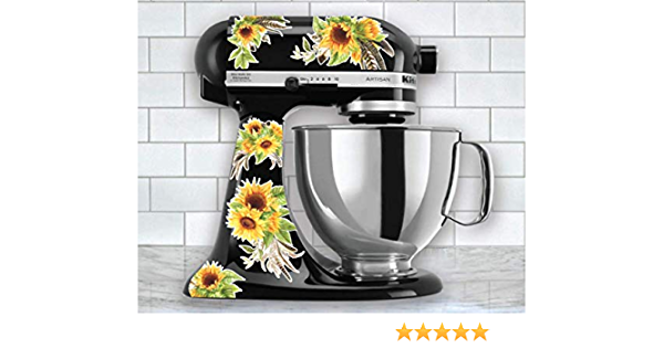 Flower Mixer Stickers Fits Most Kitchen Aid and Other Brand Stand Mixers Sunflower Watercolor Floral Vinyl Decals for Kitchen Mixers