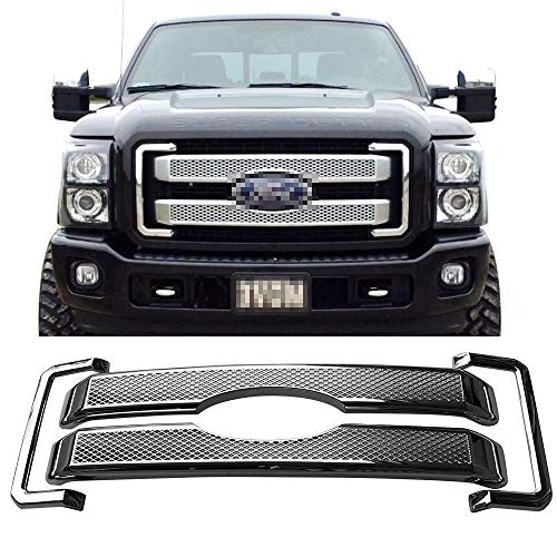 Diamond Mesh Style Bumper Overlay Covers Front Grille/Grill Kit For 2011-2016 Ford F250/F350/F450/F550 Super Duty