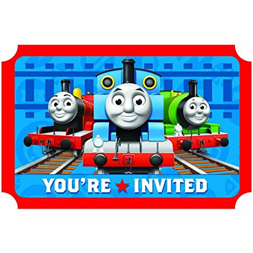 Amscan Thomas The Tank Engine Birthday Party Die-Cut Postcard Invitations, Blue/Red, 3 (Fun Friends Die Cut)