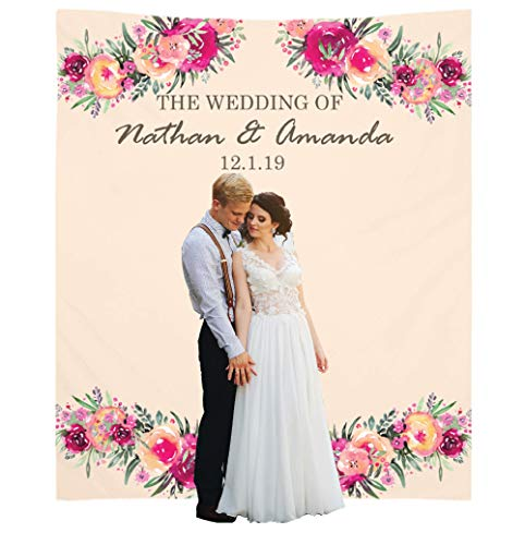 (Personalize Wedding Backdrop (68x80 inches) Decorations for Reception or Ceremony - Photo Booth Backdrops - Personalized Bridal Banner Decor - Customized Sign Decoration - Blush Pink Floral Design)