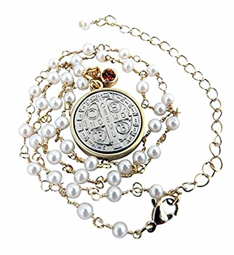 - CB Vintage Blessing Two Toned Saint Benedict Medal Pendant Necklace for Woman or Girl on 16