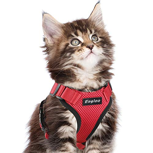 Eagloo Cat Harness Escape Proof Small Cat and Dog Harness Soft Mesh Harness Adjustable Cat Vest Harness with Reflective Strap Metal Clip Cat Walking Jacket Comfort Fit for Pet Kitten Puppy Red Small
