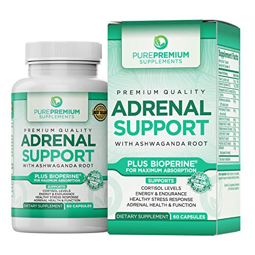 Premium Adrenal Support Supplement by PurePremium (Non-GMO & Gluten-Free) Maximum Strength Formula – Support Cortisol Levels and Reduce Stress with Ashwagandha Root, Vitamin B and C