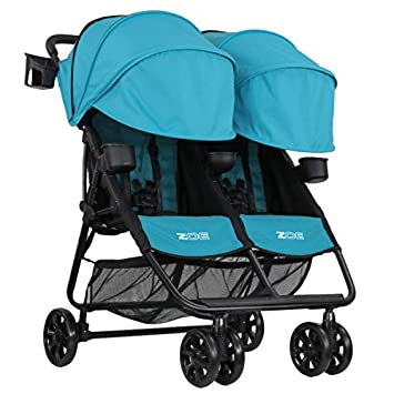 Zoe Xl2 Best V2 Lightweight Double Travel Everyday Umbrella Twin Stroller System Aqua