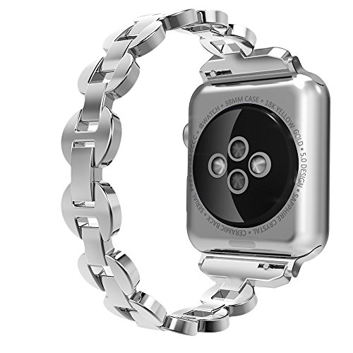 Price comparison product image Simpeak Apple Watch Band 38mm, Adjustment Bracelet Jewelry Band Strap with Crystal Diamond for 38mm Apple Watch Series 1/2/3, Silver