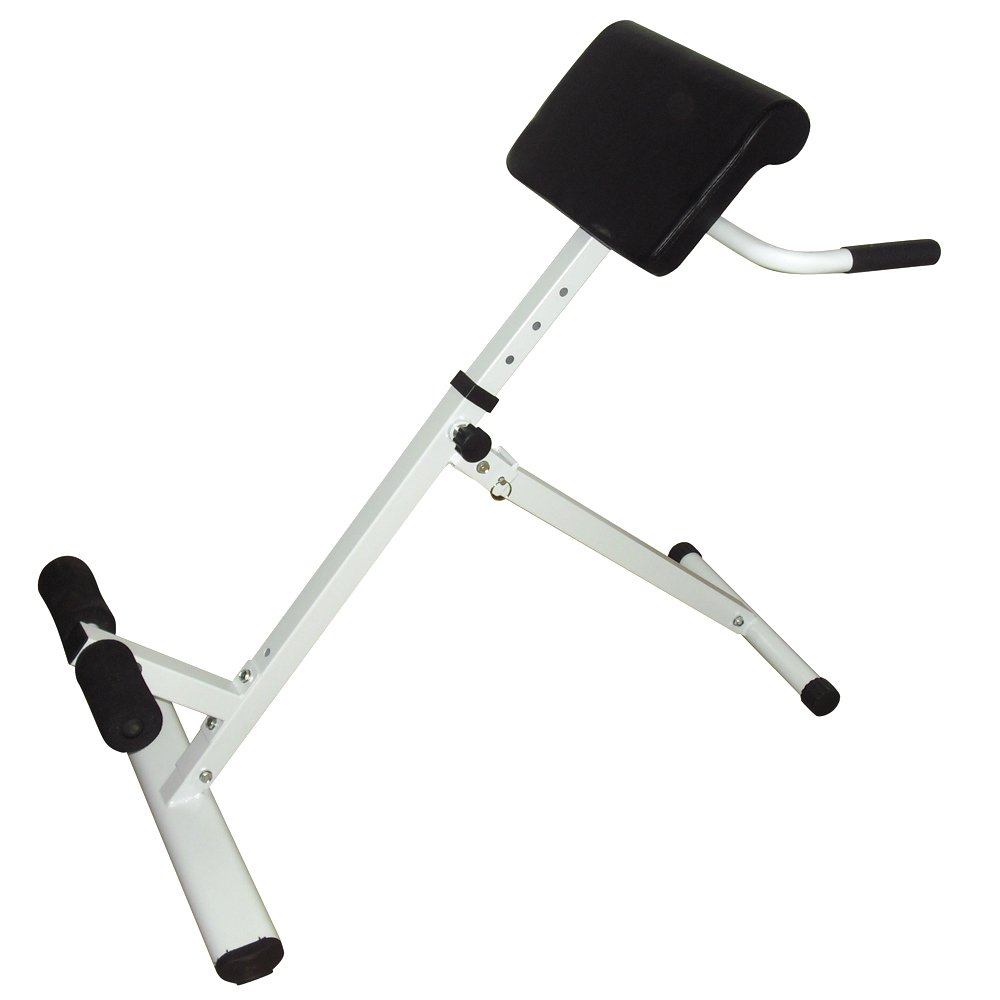 GUJJI FUN Hyperextension Bench Adjustable 45 Degree AB Back Bench Exercise Abdominal Roman Chair White