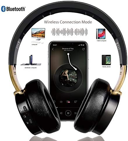 Bluetooth Headphones, Riwbox XBT-90 Foldable Wireless Bluetooth Headphones Over Ear Hi-Fi Stereo Wireless Headset with Mic/TF Card and Volume Control Compatible for PC/Cell Phones/TV/ipad (Black&Gold)