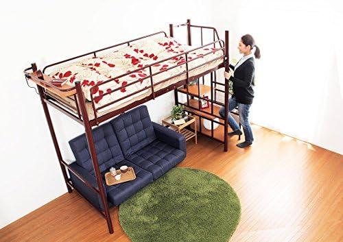 ロフトベッド・極太パイプベッド シルバー(階段付き!宮棚・コンセント付き)