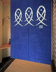 Japanese Noren Ancient Character Fish Door Curtain