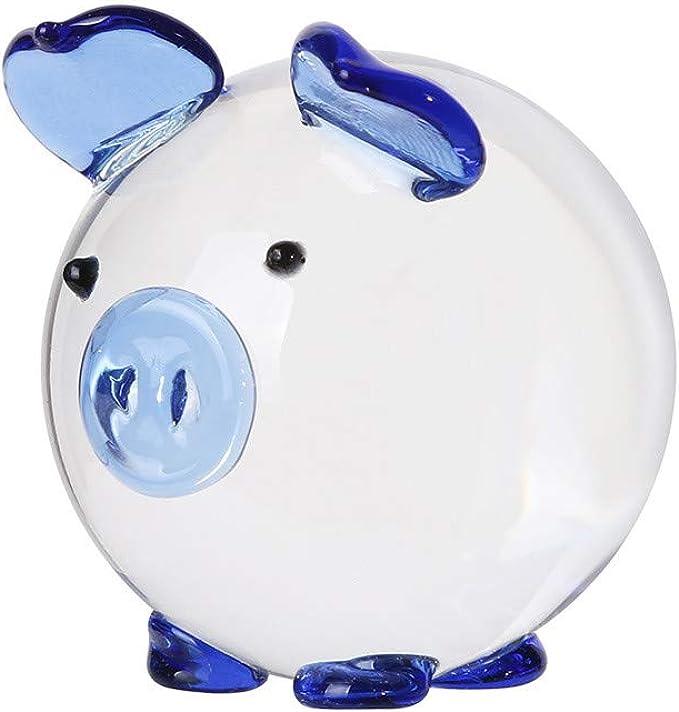 Amazon.com: Figura decorativa de cerdo de cristal multicolor ...