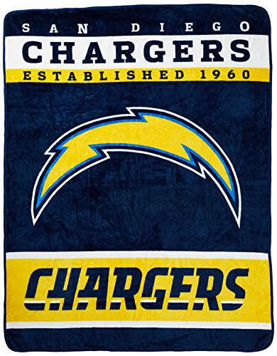 "The Northwest Company Officially Licensed NFL San Diego Chargers Plush Raschel Blanket, 60"" x 80"", Blue"