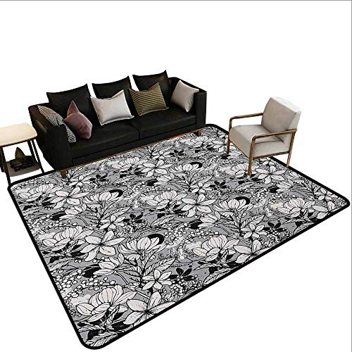 - Corridor Carpet Garden Art,Botanical Pattern with Hand Drawn Flowers Frangipani Mimosa and Lotus, Black White Pale Grey