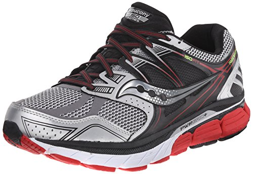 Saucony Men's Redeemer ISO Running Shoe, Silver/Black/Red,8.5 W - Silver Black Red