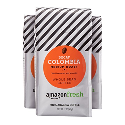AmazonFresh Decaf Colombia Whole Bean Coffee, Medium Roast, 12 Ounce (Pack of 3) ()
