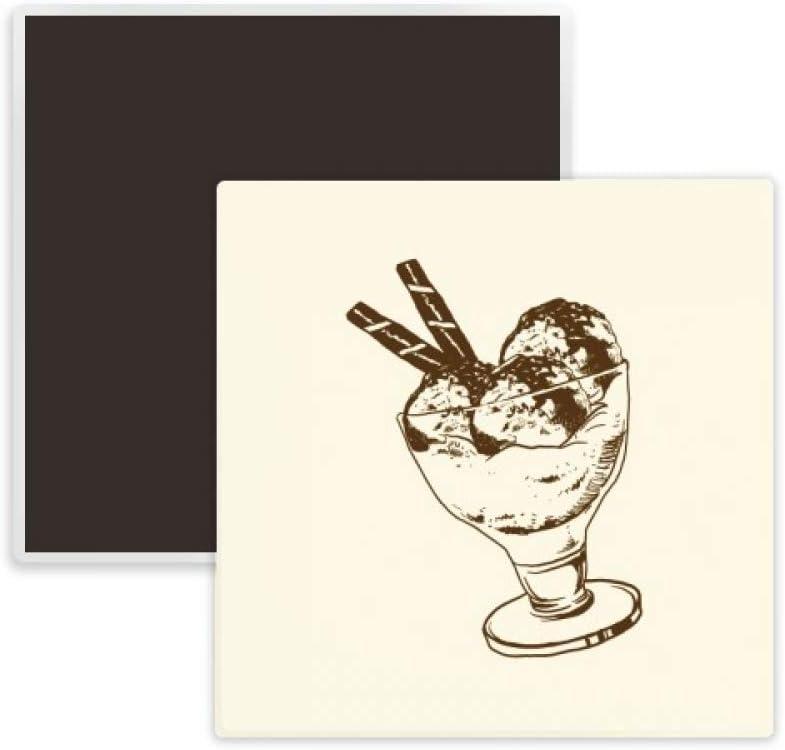 Brown Chocolate Bar Ice Glass Cream Ball Square Ceramics Fridge Magnet Keepsake Memento