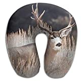 CRSJBB219 Large Mule Deer Big Antler Rack Animal Comfortable Travel Pillow,Neck Pillow,a Memory Foam Pillow That Provides Relief and Support for Travel,Home, Neck Pain
