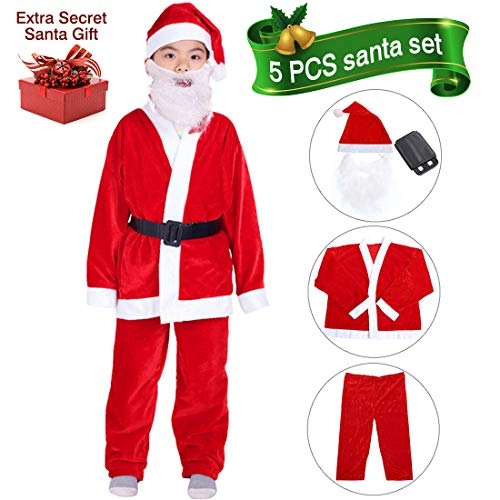 VeMee Boys Santa Costume Santa Claus Costume for Boys Child Santa Suit Christmas Costume Party Suit for Boys 5-9 Years -