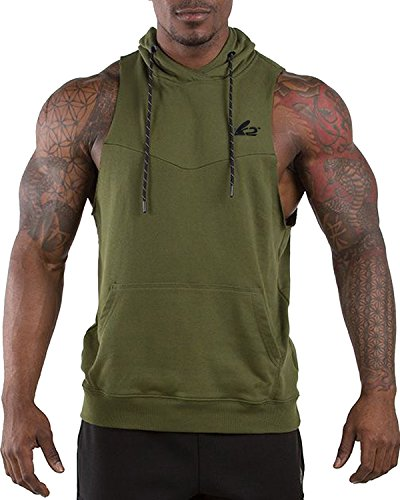 9fb743c452266 PAIZH Men s Gym Bodybuilding Sleeveless Sweat Workout Hooded Tank Top. Tap  to expand