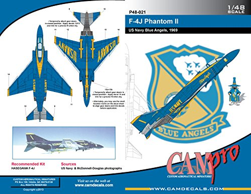 CAMP48021 1:48 CAM Pro Decals - F-4J Phantom II Blue Angels 1969 [WATERSLIDE DECAL SHEET]