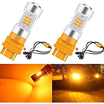 KaTur 3155 3157 3157A 3457A Amber LED Bulbs 2835 42SMD 12V Lens LED Turn Signal Light with Canbus Decoder Error Free 50W 8ohm Load Resistors Harness Set ...
