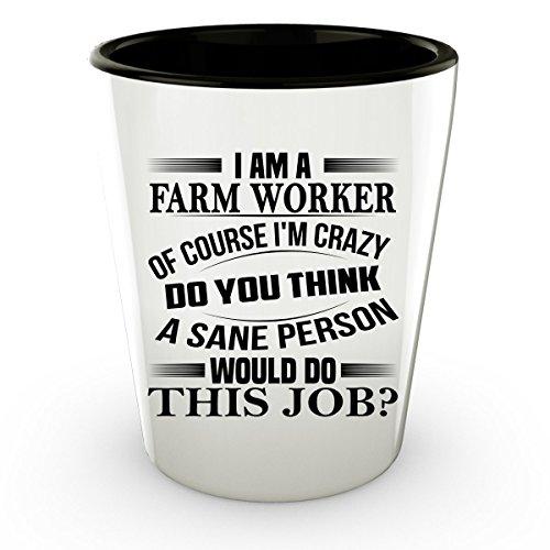 Farm Worker Shot Glass - Farm Worker Gifts - Unique Shot Glass, Coffee Cup (Farm Worker Costume)