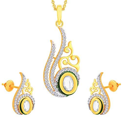 Viyari Orion Circular Two Tone Stud Earrings with Cubic Zirconia