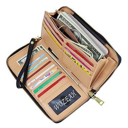 (WOZEAH Women's RFID Blocking PU Leather Zip Around Wallet Clutch Large Travel Purse (black))
