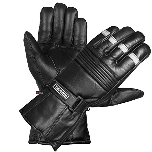 New Reflective Motorcycle Biker Riding Winter Sheep Leather Gloves Black XL