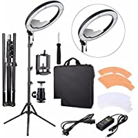 EACHSHOT ES240 Kit, Including Light, Stand, Mirror, Bag, Bracket} 18 5500K Dimmable LED Ring Light with 2 Color Diffuser for Makeup, Portrait Photography, Selfie, Camera Smartphone Youtube