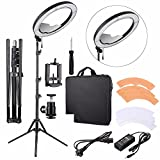 "Photo : EACHSHOT ES240 Kit, {Including Light, Stand, Mirror, Bag, Bracket} 18"" 5500K Dimmable LED Adjustable Ring Light with 2 Color Diffuser"