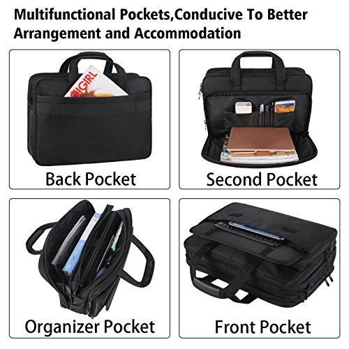 17 inch Laptop Bag,Expandable Briefcase Large Capacity Computer Bag for Women & Men,Oxford Nylon Fabric Shoulder Bag, Water Resistant Durable Messenger Bag Case for HP DELL 15 15.6 inch Laptop -Black by Ytonet (Image #1)