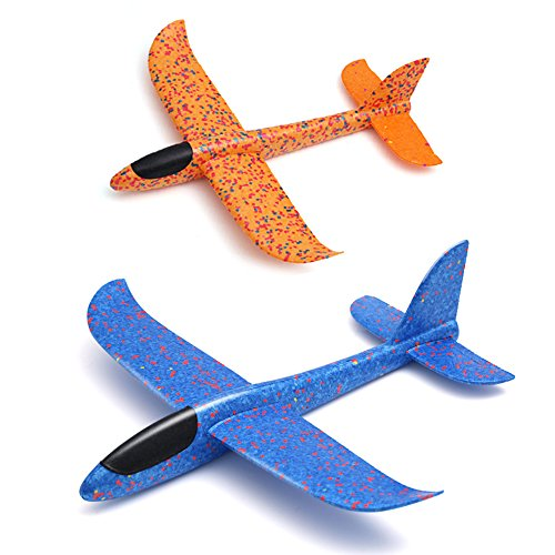 Manual Airplane - Weoxpr 2 Pack Soft Foam Airplane, Manual Throwing Inertial Plane Model for Outdoor Sports Toy & Kids Toys Gift
