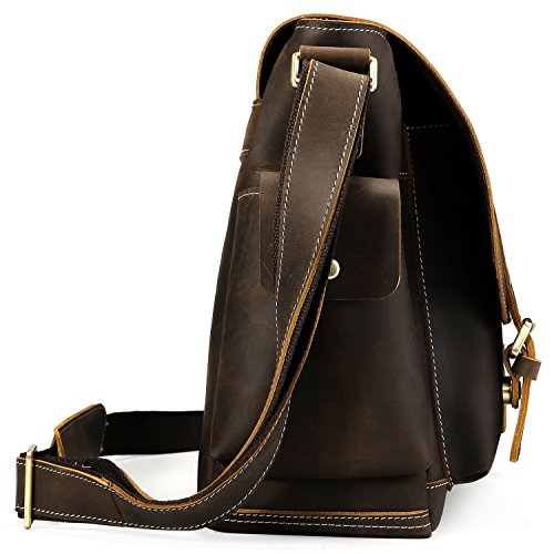 Iswee Leather Crossbody Shoulder Bag Small Messenger Satchel Bag Work Business Travel Bag for Men (Dark Brown) by Iswee (Image #2)