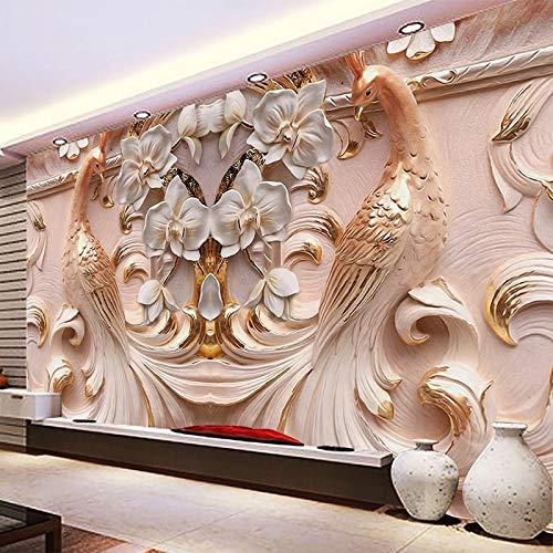 3D Sollievo Stereo Fiori di Pavone Murale Foto Wallpaper Soggiorno TV Divano Studio Sfondo Carta di Parete di Arte Per Le Pareti 3D complementi Arredo Casa cchpfcc-280X200CM