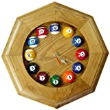 Sterling Gaming Octagonal Solid Oak Billiards Clock