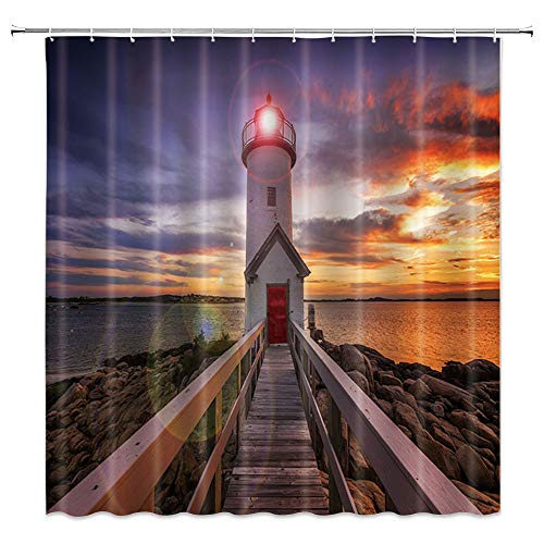AMNYSF Lighthouse Shower Curtain Sea Coast Wooden Bridge Tower Fantasy Sky Sunset Scenery Decor Fabric Bathroom Curtains,70x70 Inch Waterproof Polyester with ()