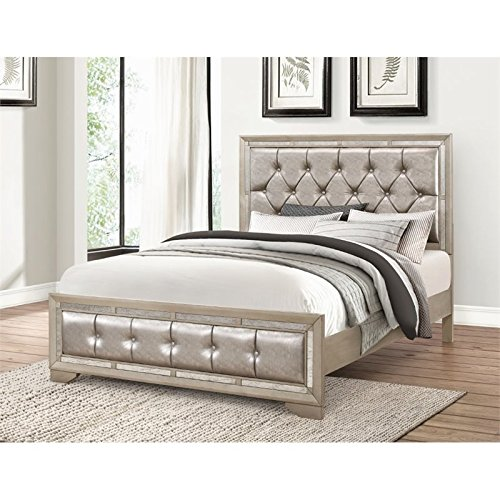 Abbyson Living Grayson Mirrored Leather Queen Bed in Gray by Abbyson Living