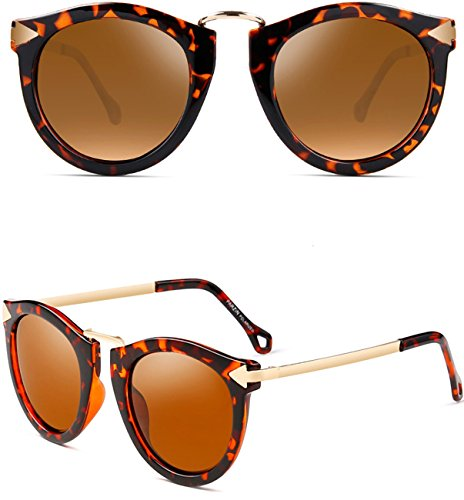 ATTCL Vintage Fashion Round Arrow Style Wayfarer Polarized Sunglasses for Women 11189 Leopard (Vintage Leopard Style)