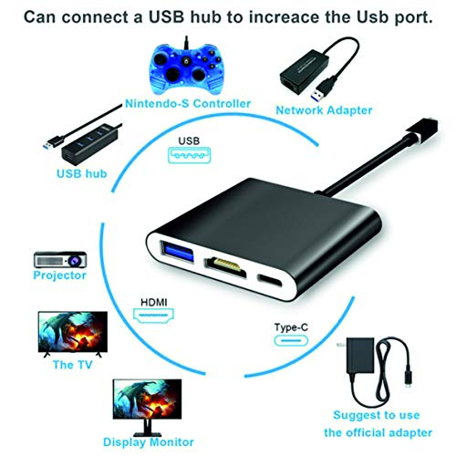 Adaptador HDMI USB C Nintendo Switch Dock Portátil, USB C a HDMI Hub Adapter con Type C Charging Port, HDMI Output, 1 USB...