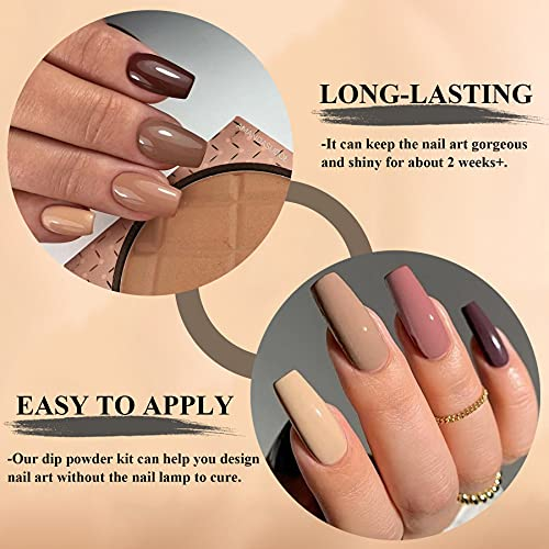 Dip Powder Nail Kit Starter with 8 Colors, AZUREBEAUTY Nude Glitter Brown Acrylic Dipping Powder Starter System Essential Kit for French Nail Manicure Nail Art Set