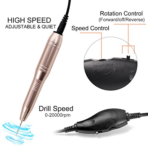 ECBASKET Electric Nail Drill Portable Nail Drill Machine Electric Acrylic Nail File Manicure Pedicure Kit Handpiece Grinder for Acrylic Gel Nails with 3 Nail Brushes for Nail & Grinder Bits Cleaning by ECBASKET (Image #2)