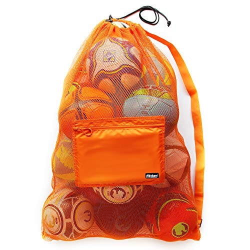 Extra Large Heavy Duty Soccer Ball Mesh Bag for Sports, Beach and Swimming Gears. Adjustable Shoulder Strap Made to Fit Adults and Kids. Secure Side Pocket for your Personal Item. 40x30 IN, Orange