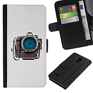 Billetera de Cuero Caso Titular de la tarjeta Carcasa Funda para Samsung Galaxy Note 4 SM-N910 / Photographer Eye Focus Gray / STRONG