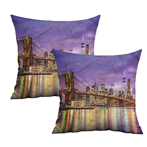Khaki home New York Square Personalized Pillowcase Broadway Scenery NYC Square Body Pillowcase Cushion Cases Pillowcases for Sofa Bedroom Car W 14