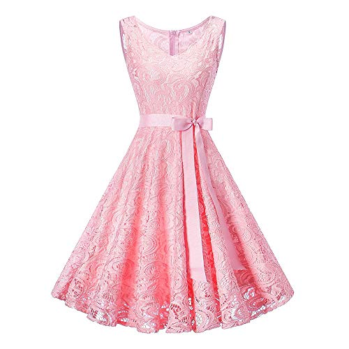 Hot Sale Bridesmaid Lace Dress DEATU Women Sleeveless/Long Sleeve Formal Ladies Wedding Bridesmaid Lace Long Dress(Pink,XXXL) -