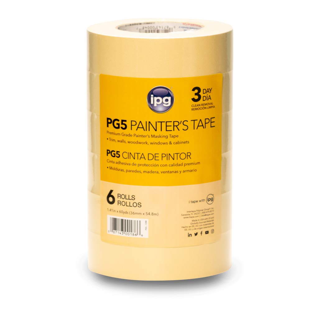 """IPG, PG5, 3-Day Masking Tape, 1.41"""" x 60 yd, Tan, (6-Pack)"""